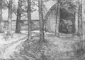 Farmyard with carriage barn in the Achterhoek, drawing
