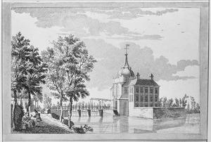 Kasteel Heukelum vanuit het noordwesten met de kerktoren van Asperen (spiegelbeeldig)