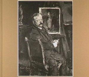 Portret van Pieter Oyens (1842-1894), zittend voor zijn schildersezel