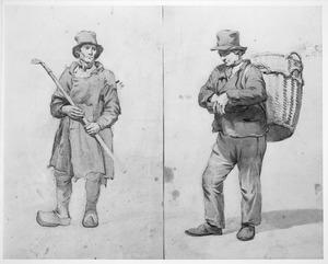 Twee studies van boerenfiguren
