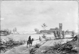 Winterlandschap van Gentofte, met Kopenhagen in de achtergrond