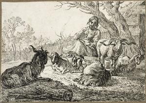 Herderin met spinrokken en vee