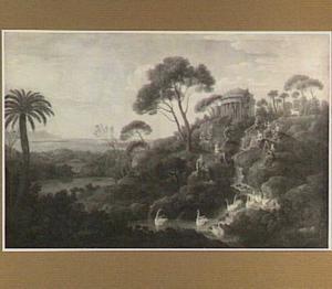 Landschap met Apollo en de muzen op de Parnassus