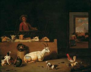 Interieur van een stal met een boer, schapen, een geit en spelende hondjes