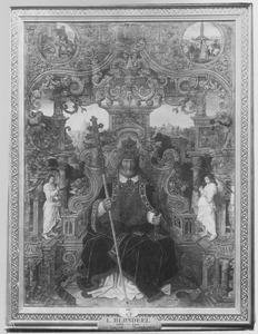 De H. Petrus. In de medaillons: de gevangenneming en Petrus' marteldood