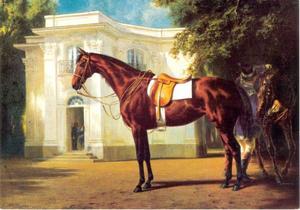 Gisela, rijpaard van Koning Ludwig II van Beieren, voor de Pagodenburg in het park van Schloss Nymphenburg