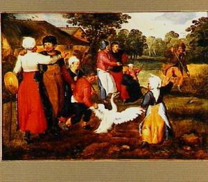 De lente: boeren met kinderen en een gans in de wei