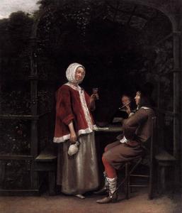 Jonge vrouw en twee mannen in een prieel
