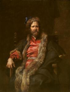 Portret van de eenarmige schilder Martin Ryckaert in Pools kostuum