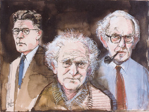 Portret van Jacques Presser (1899-1970), Abel Jacob Herzberg (1893-1989) en Louis (Lou) de Jong (1914-2005)