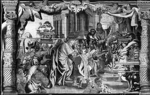 Salomo brengt offerandes op het altaar te Gibeon (1 Koningen 3:4)