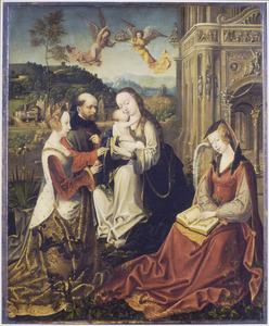 De H. Familie met de HH. Catharina en Barbara