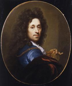 Zelfportret van Godefridus Schalcken (1643-1706) met de penning van Johann Wilhelm, keurvorst van de Paltz