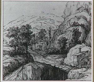 Rotsachtig berglandschap met watermolen