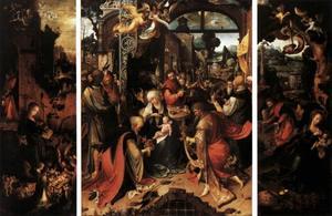 Triptiek met de geboorte (links), de aanbidding van de Wijzen (midden) en de rust op de vlucht naar Egypte (rechts)
