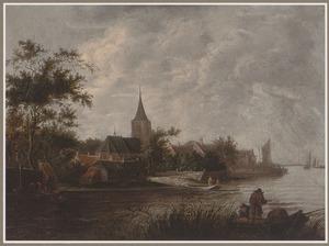Rivierlandschap met gezicht op een dorp, met een veerboot en vissers in een roeiboot
