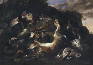 Jachtbuit met haas, gevogelte en kruisboog in een landschap; rechts een kat