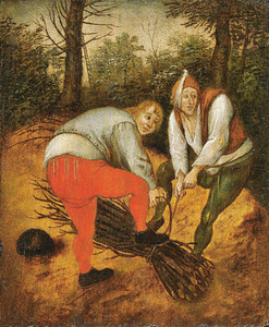 Houthakkers bij het verzamelen van brandhout