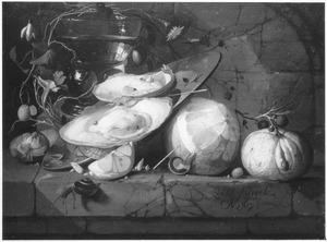 Stilleven van oesters, fruit en een roemer