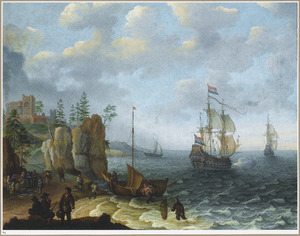 Kustlandschap met vissers die hun vangst aan land brengen