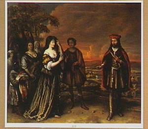 De eerste ontmoeting van Isaak en Rebekka (Genesis 24:65)