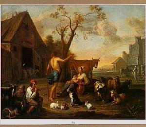Herder melkmeid en vee op een boeren erf
