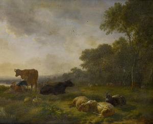 Rustend vee en een melkmeid bij een koe in een weide