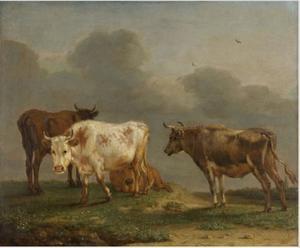 Vier koeien in de weide