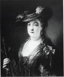 Vrouwelijk halffiguur à la Saskia met een hoed en herdersstaf