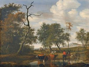 Landschap met drinkende koeien bij een beek