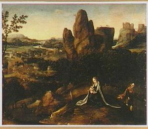 Landschap met de rust op de vlucht naar Egypte (Pseudo-Matt. 20:1 en 22:2)