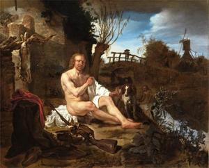 Jager, zich aankledend na een bad in een rivier