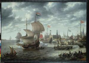 Hollands oorlogsschip bij de rede van Kopenhagen, gezicht op het kasteel van Kopenhagen naast Bremerholm