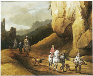 Jagers op weg in een berglandschap