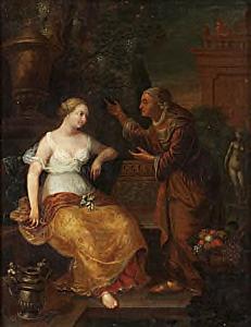 Batseba wordt door David uitgenodigd in zijn paleis te komen (2 Samuel 11:4)