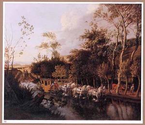 Landschap met een door zes paarden getrokken koets op een ondergelopen weg