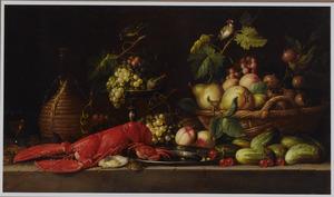 Een krab en kreeft op een tinnen schotel, een tros druiven en een vijg op een tazza, een mand met vruchten, een mandfles, oesters, kersen, en komkommers op een stenen plint met twee zangvogeltjes