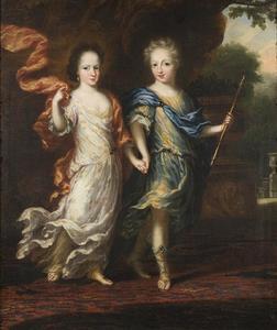 Portret van koning Karl XII (1682-1718) en zijn zus Hedvig Sofia (1681-1708)