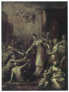 De H. Elisabeth van Hongarije verdeelt haar bezittingen onder de behoeftigen