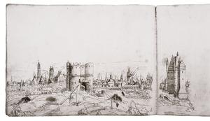 Antwerpen met links van het midden de Kipdorppoort en rechts de Rode Poort