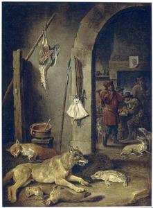Interieur met jachtbuit, honden en jagers