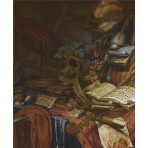 Vanitasstilleven met een schedel, een kroon en muziekinstrumenten