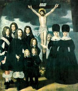 De kruisiging met stichtersportretten van Johann Cocken von Grünblatt, burgemeester van Riga, en zijn familie