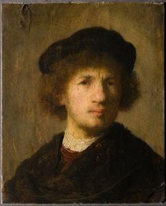 Zelfportret met baret en geplooid hemd