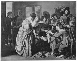 Interieur met mannen die terugkomen van de jacht en vrouwen die de buit inspecteren