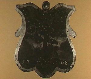 Begrafenisschild van het Appelkopersgilde: een appelplukker bij een boom