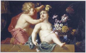 Twee putti met een mand met bloemen