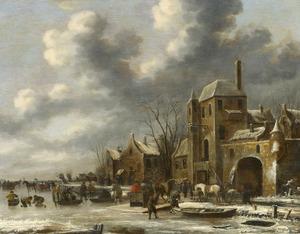 Winterlandschap met figuren op het ijs buiten een stad