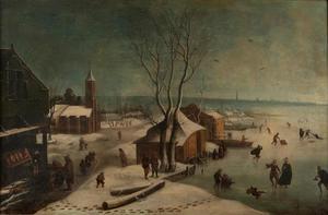 Winterlandschap met figuren op het ijs en gezicht in een dorp
