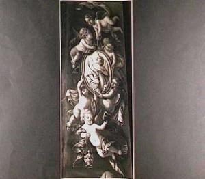 Putti die een medaillon dragen met daarin een personificatie van het geloof